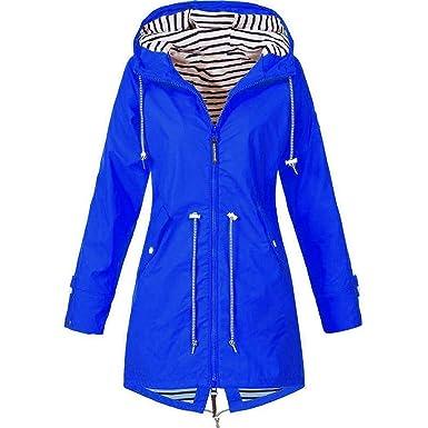 premium selection a3ace 5f9ad Tomasa- Windbreaker für Damen Übergangjacke Lange Regenjacke mit Kapuze,  atmungsaktiv Jacke Mantel Outdoor Jacke