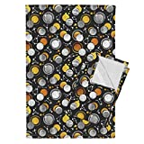 Sun Galaxy Universe Moons Solar Eclipse Gold Black And White Tea Towels Great Total Solar Eclipse by Selmacardoso Set of 2 Linen Cotton Tea Towels