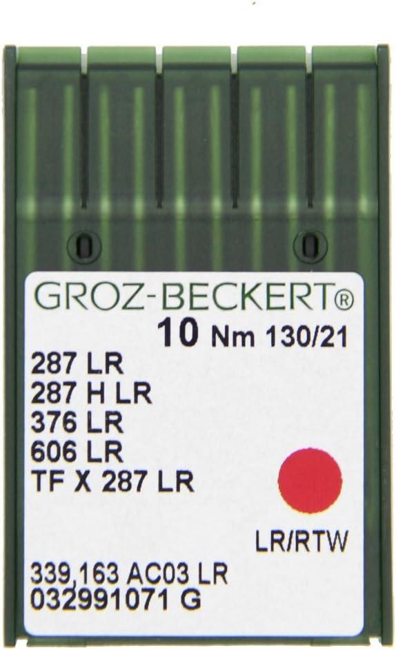 GROZ-BECKERT - Juego de 10 agujas de coser de piel 34 LR con pistón redondo y punta de corte para máquinas de coser industriales, Nm. 130/21