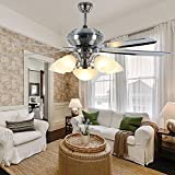 Luxurefan Modern Metal Ceiling Fan Light Fixture 5 Premium Stainless Steel Blade and Elegant Lampshade for Modern Restaurant Living Room Ceiling Fan with Remote Control of Sand Nickel 56Inch