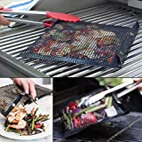 Saftybay Non Stick BBQ Grill Mesh Bag Set 2 Pack,Barbecue Grill Sheet Liners Grilling Mats Nonstick Grids,Home Garden Outdoor Picnic Tool (2 Pack)
