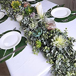 "Supla 8.7' Long 5.9"" Wide Faux Eucalyptus Leaves Garland Fake Artificial Hanging Eucalyptus Greenery Garland in Grey Green for Wedding Holiday Decorations UV Protected Indoor Outdoor 4"