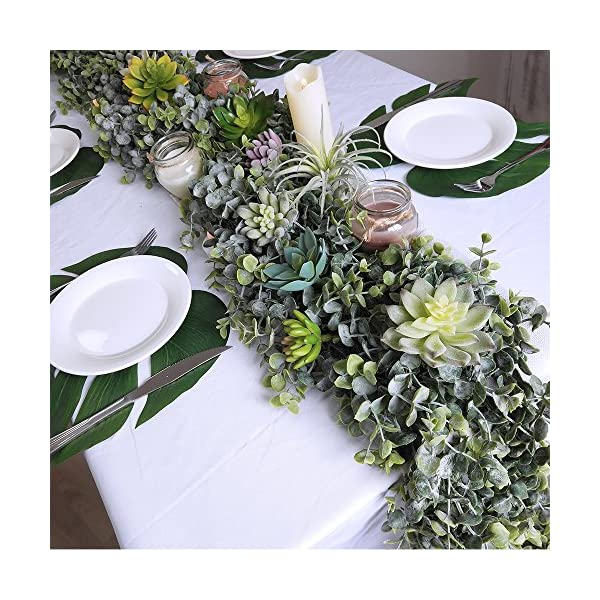 Supla-87-Long-59-Wide-Faux-Eucalyptus-Leaves-Garland-Fake-Artificial-Hanging-Eucalyptus-Greenery-Garland-in-Grey-Green-for-Wedding-Holiday-Decorations-UV-Protected-Indoor-Outdoor