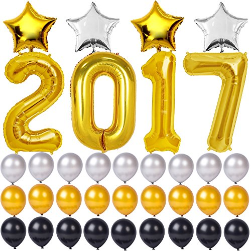 2017 Graduation Balloons Decorations Congratulations Congrats banner Grad, Gold Decorations for Graduations Party, Birthday Party, Bridal Wedding and Event (Standard Helium Balloon Kit)