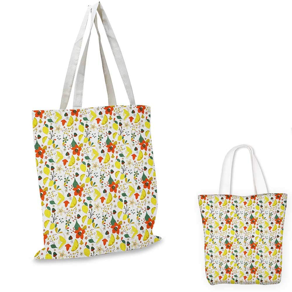 Floral canvas messenger bag Spring Flowers with Lemons Leaves Inspirational Artistic Illustration canvas beach bag Red Yellow Forest Green 12x15-10