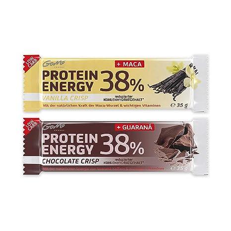 GoMo ENERGY® 38% BARRITAS ENERGÉTICAS │ Chocolate Crisp con 200mg guaraná y Vainilla Crisp