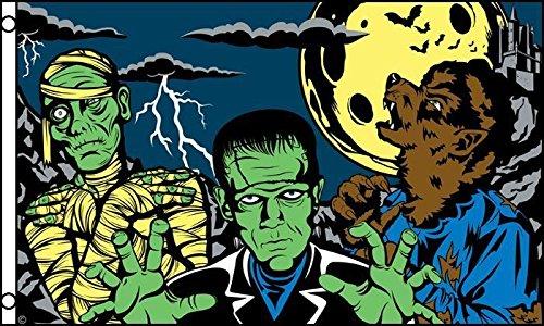 3x5 Happy Halloween Spooky Fright Night Monsters Flag 3'x5' Brass -