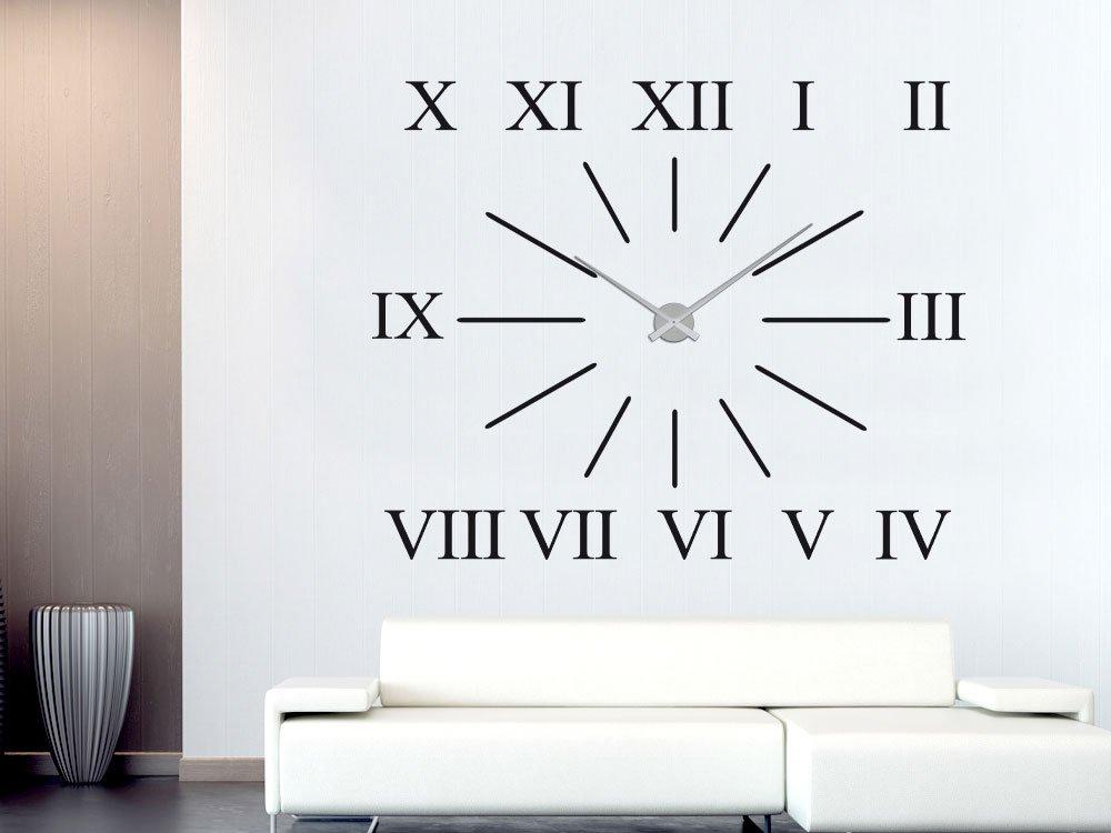 Pared Adhesivo Reloj de para salón XXL con números romanos de franjas -  Reloj de pared 13ab3e684bf02