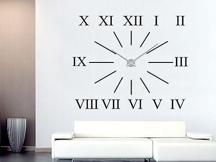 Pared Adhesivo Reloj de para salón XXL con números romanos de franjas –  Reloj de pared ad39732a954fe
