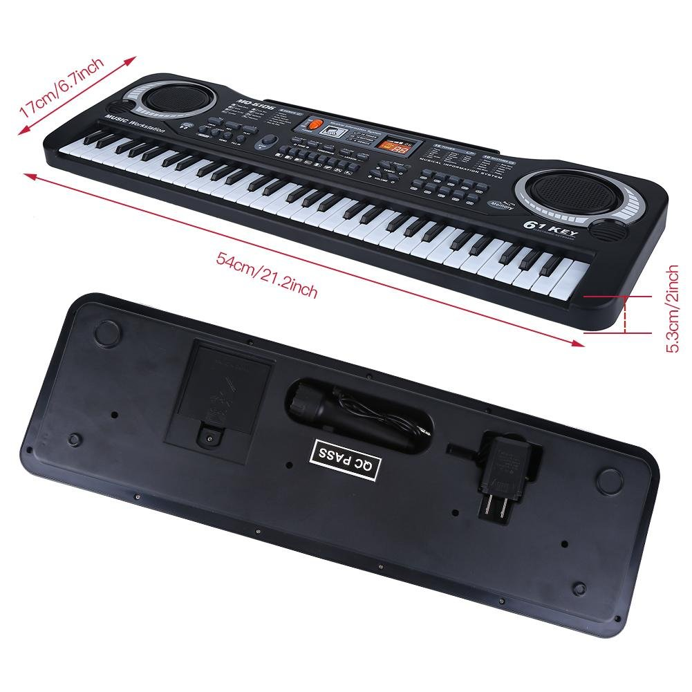 lyrlody Electronic Piano 61 Key Electric Digital Keyboard Piano with Microphone Portable Musical Instruments Toy for Adults Kids Children Boy Girl by lyrlody (Image #2)