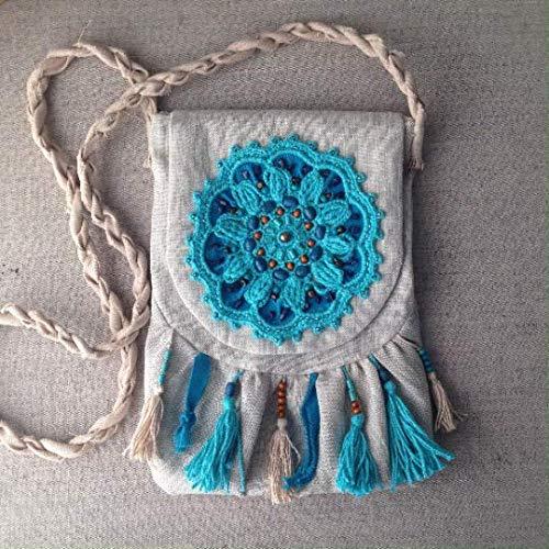 Boho messenger bag for women crossbody in Turquoise and Beige, boho purse hippie bolso boho mujer