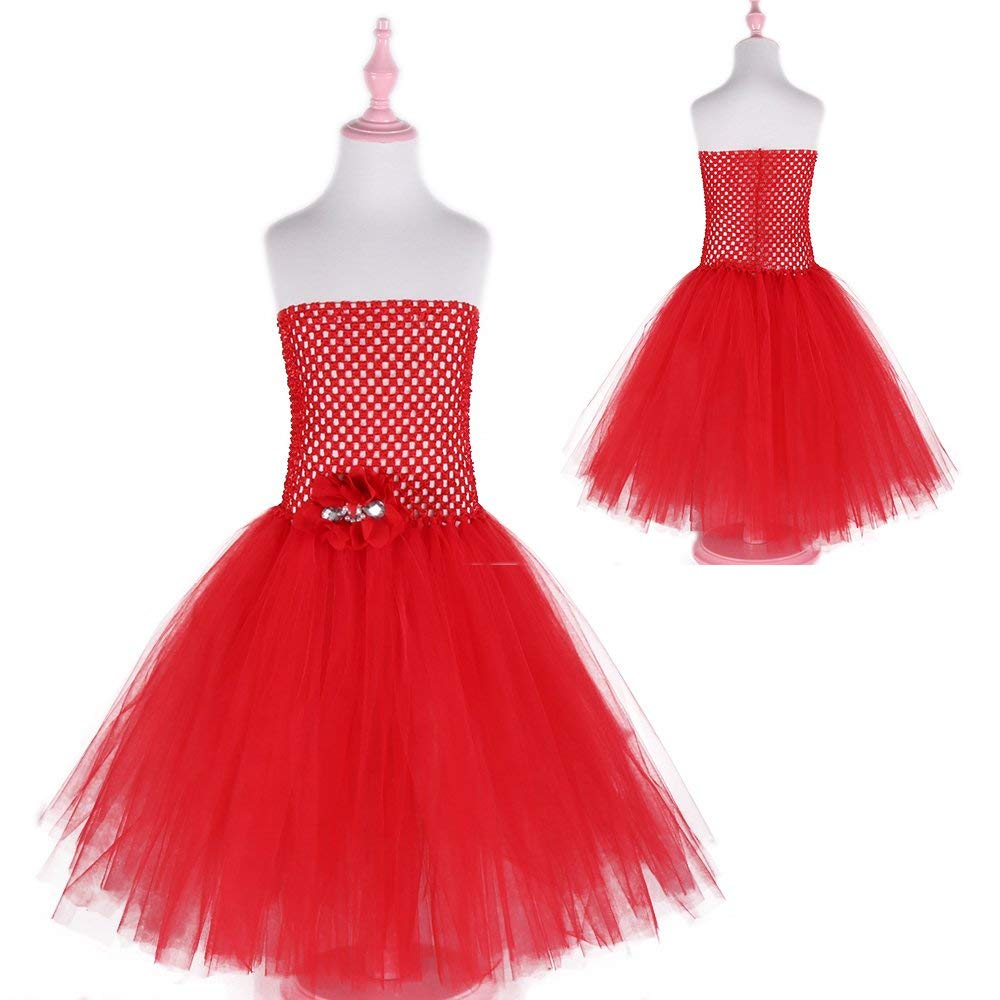 80cfcce232fa Amazon.com  Ankle-length Red Color Girls Tulle Tutu Dress with ...