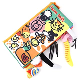 Libro di stoffa per bambini, capretto animale educativo code Libro di stoffa Storia di apprendimento in inglese per ragazzi e ragazze Tocca e senti attività(Animal) GLOGLOW