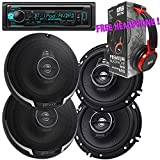 Package - 2 Pairs of Kenwood KFC-1695PS 320W 6-1/2'' 3-way Car Speakers + Kenwood KDC-BT31 Single-DIN In-Dash Bluetooth CD Receiver + Free EBH700 Headphone