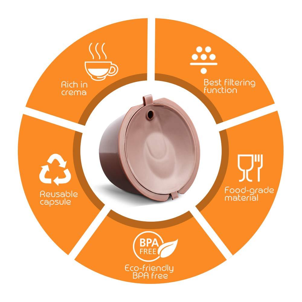 para Dolce Gusto m/ás Espuma 3 Unidades de Acero Inoxidable i Cafilas C/ápsulas de caf/é Reutilizables Dolce Gusto