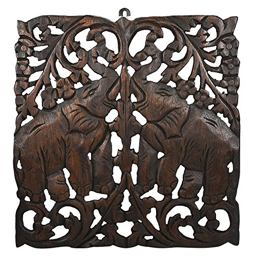 Thailand Handcrafted Asian Elephant Hand Carved Teak Wood Wall Relief Panel Decocration Art (Brown)