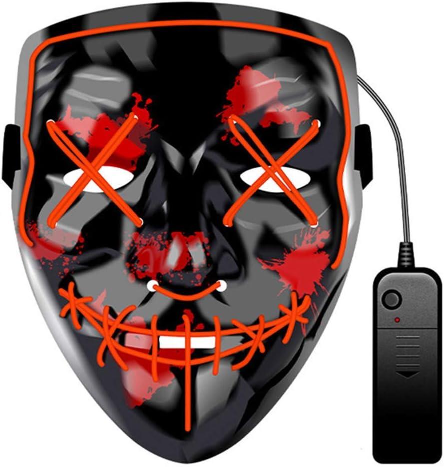 JCT Halloween LED Máscaras Purga Grimace Mask Horror Mask Scary LED Ilumina Máscaras para Halloween, Fiestas de Disfraces, Mascaradas, Carnavales, Regalos For Adultos Infantiles (Rojo)
