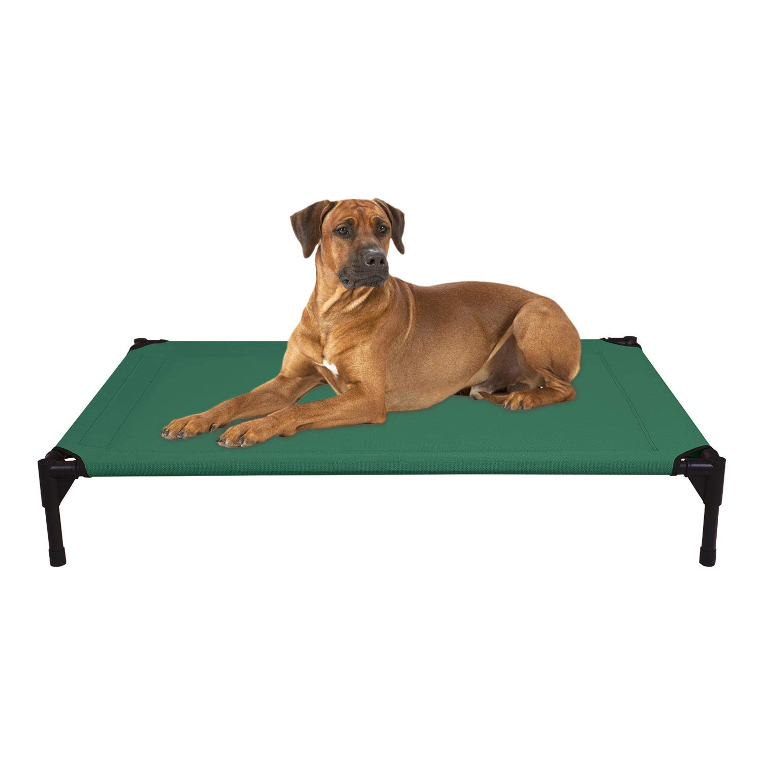 Veehoo Cooling Elevated Dog Bed - Portable Raised Pet Cot with Washable & Breathable Mesh, No-Slip Rubber Feet for Indoor & Outdoor Use, Oversize Package, Large | Green