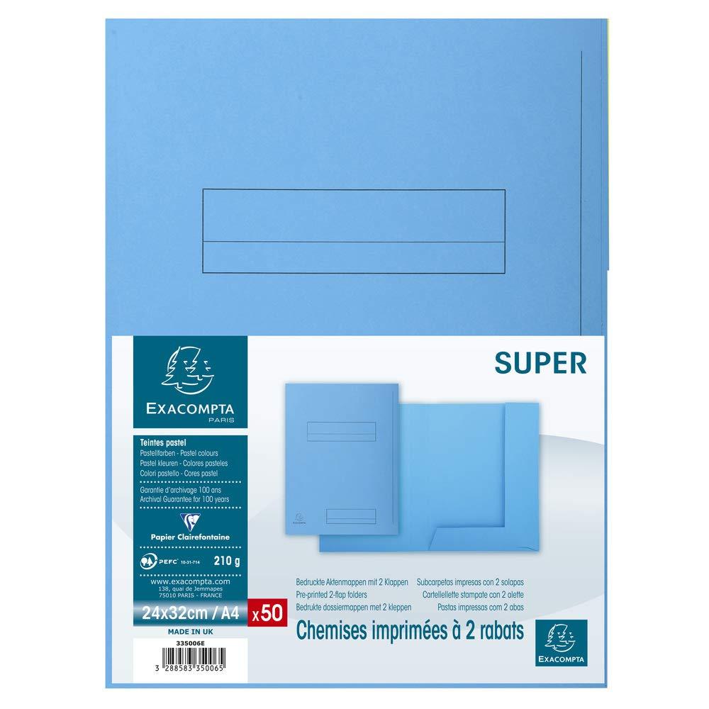 Color Azul Claro Exacompta 335006E Lote de 50 Subcarpetas Super 250 Impresas y con 2 Solapas