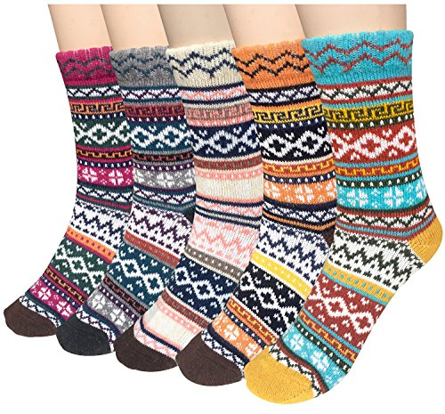 Weather Soft Warm Thick Knit Crew Casual Winter Wool Socks,Multicolor 01,One Size (Multi Color Womens Socks)