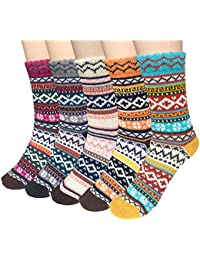 5 Pairs Womens Cold Weather Soft Warm Thick Knit Crew...