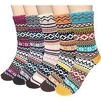 5 pares de calcetines Loritta estilo clásico, suaves y cálidas para invierno, tejido grueso de lana, para mujeres