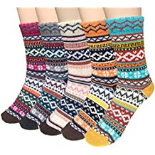 5 Pairs Womens Cold Weather Soft Warm Thick Knit Crew Casual Winter Wool Socks