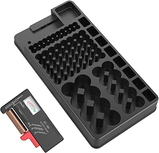 Venus Valink - Caja organizadora de pilas AAA AA C D de 9 V, caja de almacenamiento de baterías, contenedor de batería, caja de almacenamiento de baterías puede contener baterías con probado: