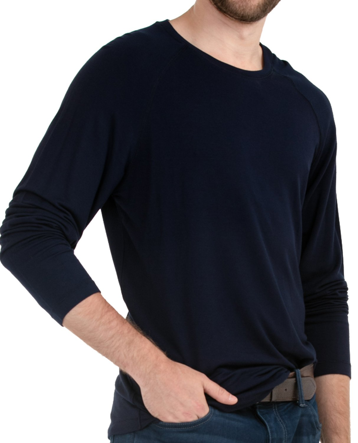 LNBF Men's Apparel Viscose from Bamboo Long Sleeve Raglan Leave Nothing But Footprints