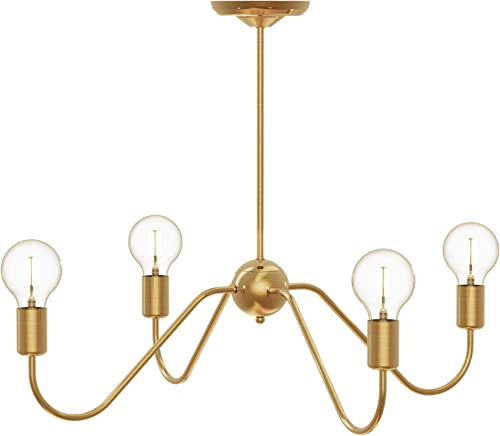 Electro bp Cozy Style Barebulb 4-Arm Polished Gold Chandeliers Ceiling Lighting Fixtures,240W,27.5″Dia