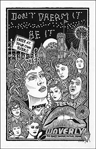 """Rocky Horror Picture Show with Frankurter, Brad, Janet, Magenta, Riff Raff, Rocky, and More- Inspired Letterpress Art Print Poster -Detailed Pen and Ink Original Hand Drawing 11""""x17"""""""