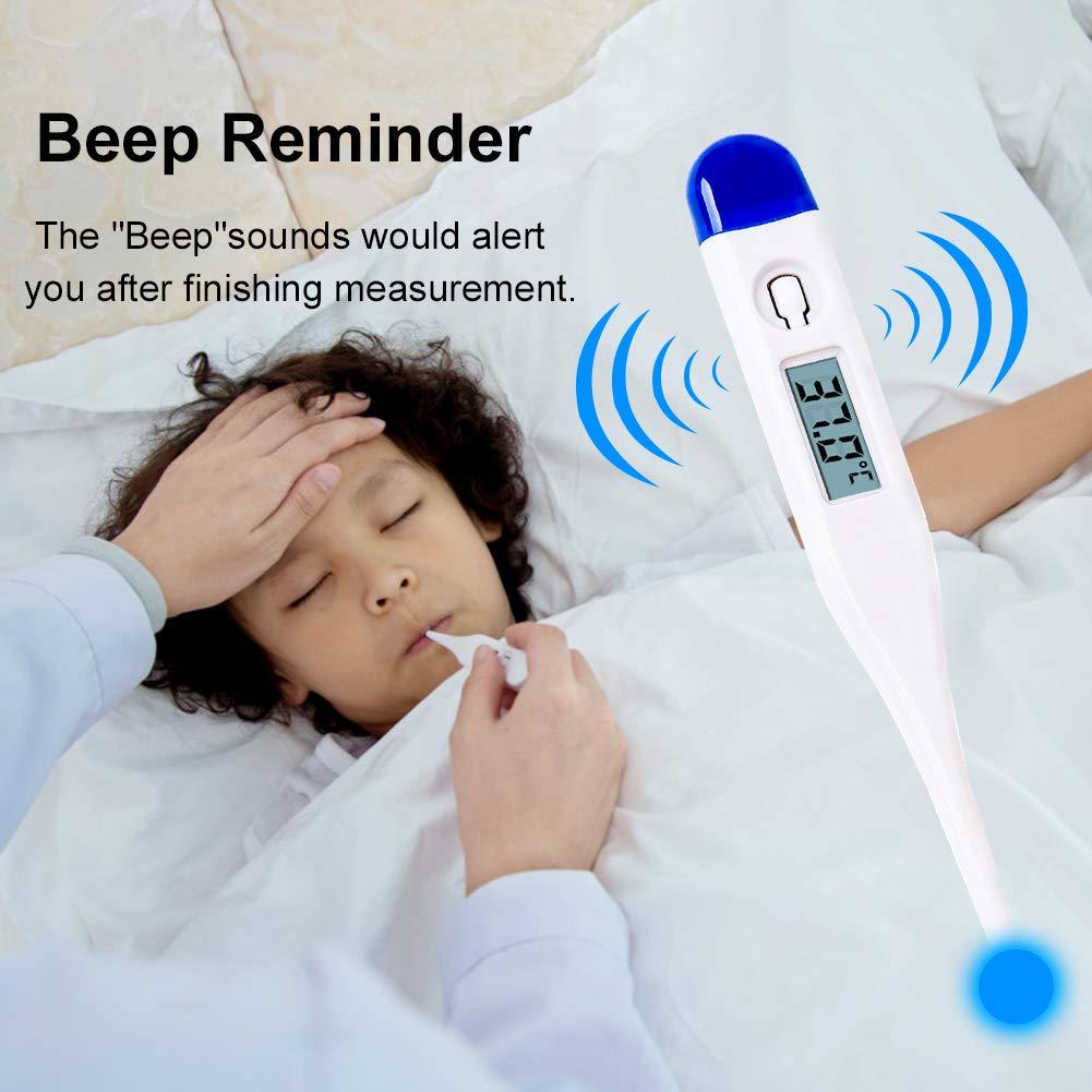 GARDOM Digitales Fieberthermometer Orales Unterarm Thermometer genaue und schnelle Messwerte Genaues LCD-Display mit Fieberwarnung Thermometer f/ür Erwachsene Kinder Baby