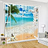 LB Tropical Beach 3D Window Curtains Drapes for Living Room Bedroom,Green Palm Trees and Blue Ocean Water Scene Teen Kids Room Decor Blackout Curtains 2 Panels,28 by 65 inch Length Review