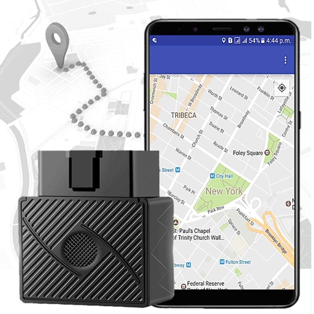 OBDII Car GPS Tracker for Vehicles - Real Time Tracking Device Cars Locator - Geofence Anti-Theft & Speed Alert Detector Alarm Security System Teenage Driving Driver Monitor - Free App No Monthly Fee