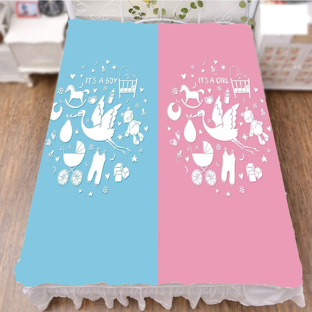 iPrint Bed Skirt Dust Ruffle Bed Wrap 3D Print,Icons Girls Boys Baby Shower Stylized Toys Pattern,Fashion Personality Customization adds Color to Your Bedroom. by 59''x78.7''