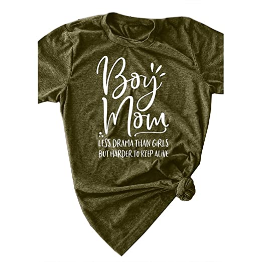 b7cd1584f Pukemark Women's Tops Cute Graphic Letter Print Summer Casual Cotton T-Shirt  Cross Boy Mom