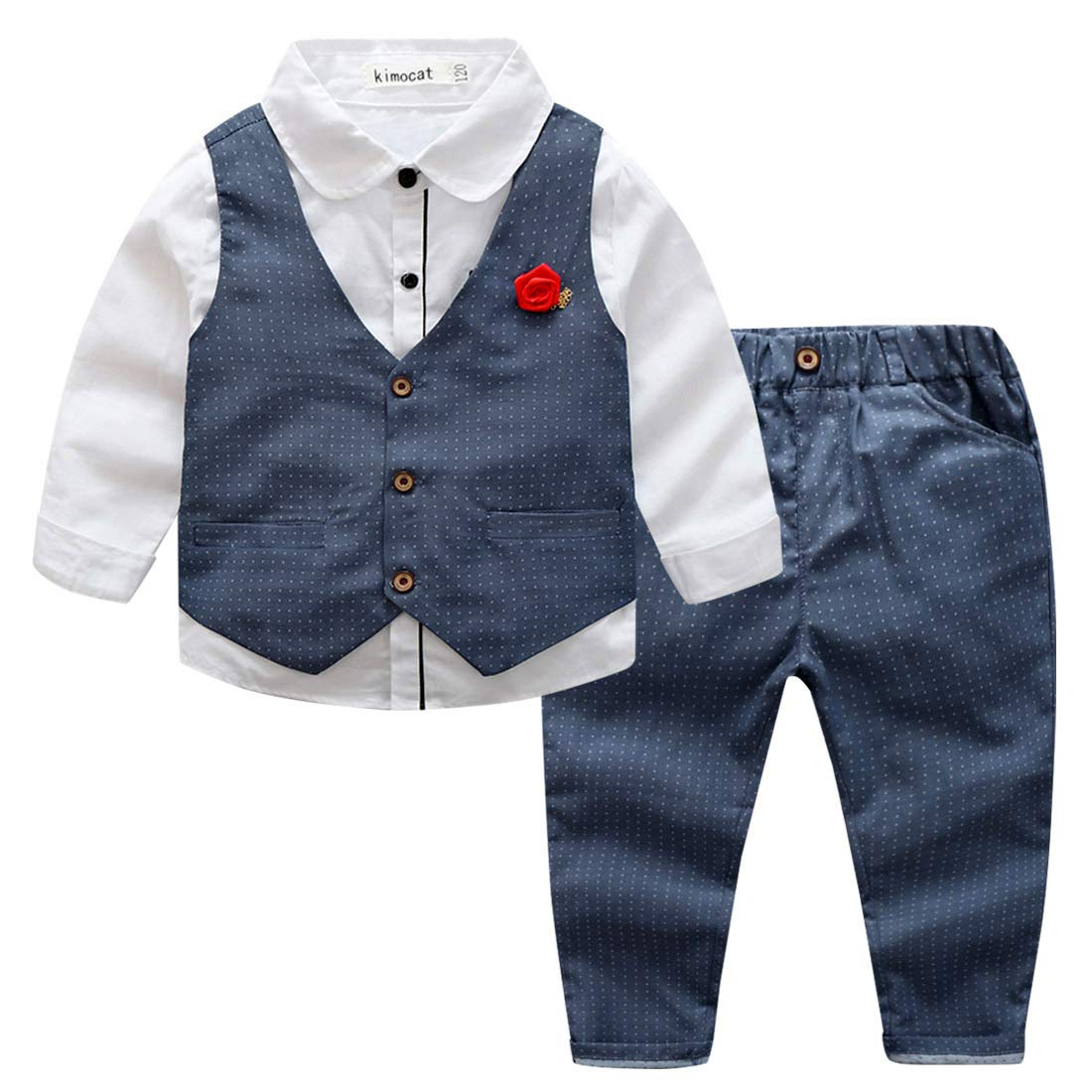 Kid Boys 3pcs Wedding Suit Classic Gentle Clothing Set Cotton Fully Lined Formal Tuxedo Wear with Dots Pattern, 5Y