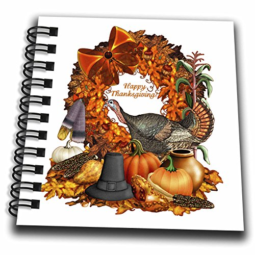 3dRose Dream Essence Designs-Holidays Thanksgiving - Thanksgiving wild turkey, pumpkins, corn, gourds and Autumn leaves - Mini Notepad 4 x 4 inch (db_262347_3)