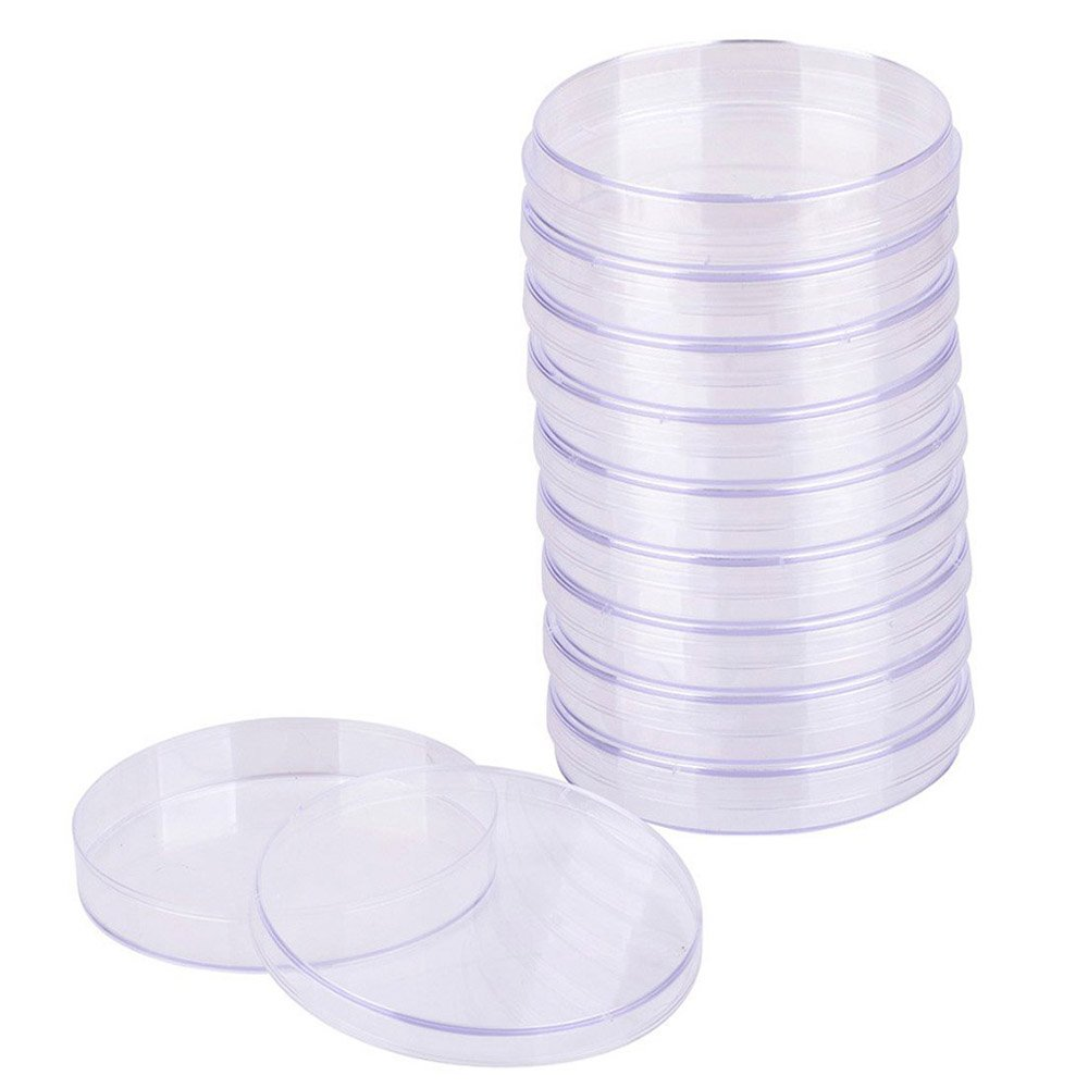 Plastic Petri Dish, 10 Pieces Transparent Sterilized Petri Dishes, Bacterial Culture Bowl with Lid for Laboratory Culture Bacterial Yeast (90 mm) vientiane
