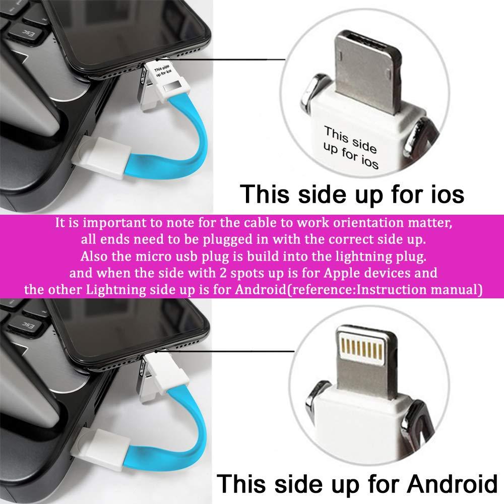 Llavero Cable Cargador Lightning Type C Micro USB 3 en 1 Multi Cable Rápido Carga y Transferencia Datos Cable 13cm Corto Cable de Carga Magnético ...