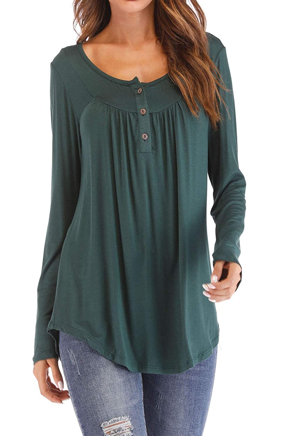 Tomlyws Women's Blouse Long Sleeve Botton up T-Shirt Comfy Casual Flattering T Shirt Tops for Women WT69-$P