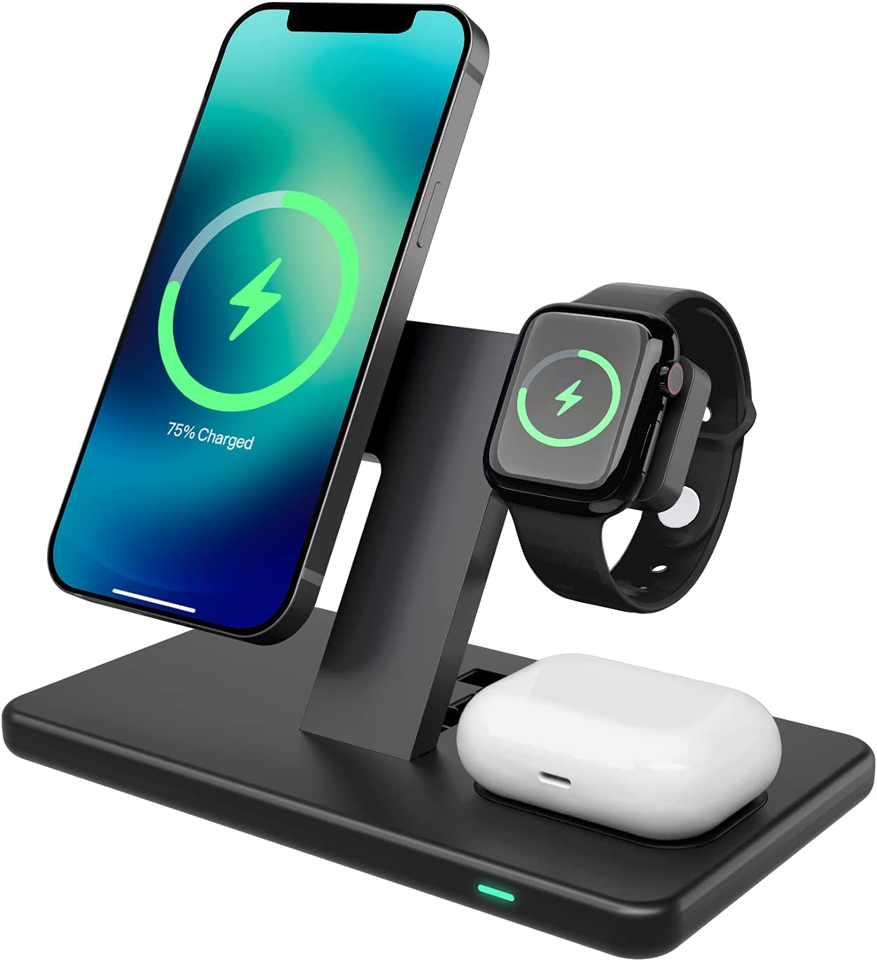 3-in-1 Magnetic Charging Station, Detachable Wireless Charger Stand for iPhone 12/12 Pro/12 Pro Max /12 Mini, iWatch 6/ SE/5/4/ 3/2/1, AirPods 2/ Pro, Compatible with MagSafe Cases(with QC3.0 Adapter)