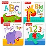 Fisher Price 'My First Books' Set of 4 Baby Toddler Board Books (ABC Book, Colors Book, Numbers Book, Opposites Book)