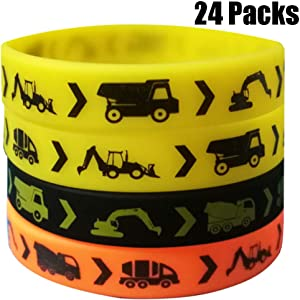 24PCS Construction Zone Party Favors Rubber Bracelets - Construction Birthday Party Supplies Car Decorations Goodie Bag Stuffers Slicone Wristbands