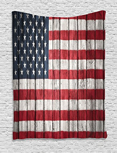 Ambesonne Rustic Decor American USA Flag Tapestry Wall Hanging, Fourth of July Independence Day Adorn National Democracy Art Rough Wood Looking, Bedroom Living Room Dorm Decor, 60 W x 80 L inches by Ambesonne (Image #1)