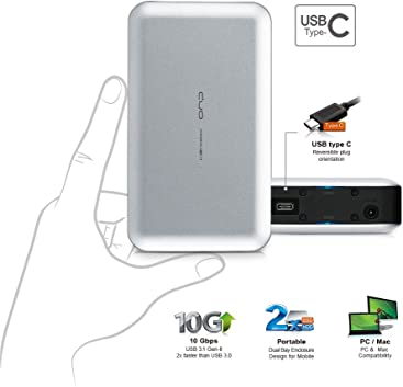 Mediasonic USB 3.1 GEN-II Support SATA 3 6.0Gbps SSD // HDD /& UASP HDK-SU31 2.5 SATA SSD // Hard Drive Enclosure 10 Gbps