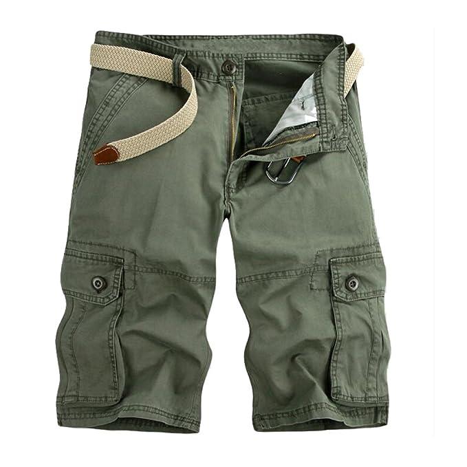 low priced 395c1 aa736 ZKOO Cargo Shorts Uomo Bermuda Pantaloni Corti Estivi Lunghezza Al  Ginocchio Pantaloncini con Tasconi Laterali Casuale