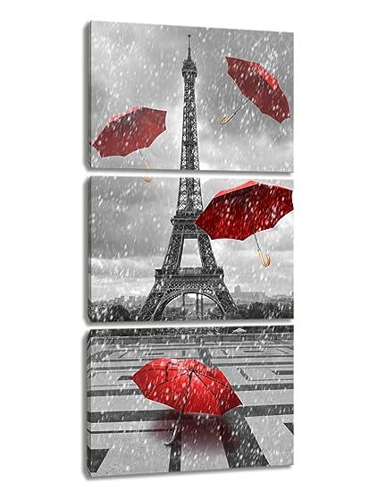 KALAWA - Juego de 3 Paneles de ciciscapa con diseño de Torre Eiffel con Paraguas Rojo
