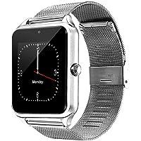 REDLEMON Smartwatch Reloj Inteligente Bluetooth con Ranura para Chip SIM, Micro SD, Cámara 2.0MP, Notificaciones de Redes Sociales y Mensajería, Aplicaciones, Podómetro, Pantalla Táctil, Compatible con Android y iPhone, con Correa de Acero Inoxidable, Z60