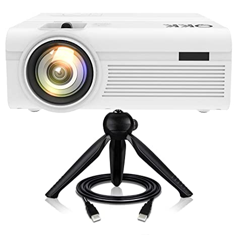 Proyector QKK [Con Trípode], Mini Proyector 3600 Lumens, Video Proyector Soporta 1080P Full HD, Compatible con HDMI VGA AV TF USB Dispositivos, ...